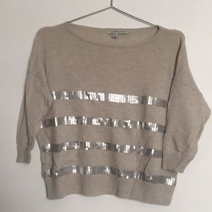 Autumn Cashmere • Ivory Sequined Crop Sweater
